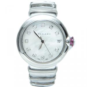 Bvlgari White Mother Of Pearl & Steel Lvcea Diamond Women's Watch 33MM