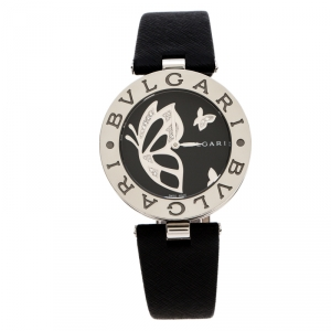 Bvlgari Black Stainless Steel Diamond Butterfly Motif B.Zero1 Women's Wristwatch 35 mm