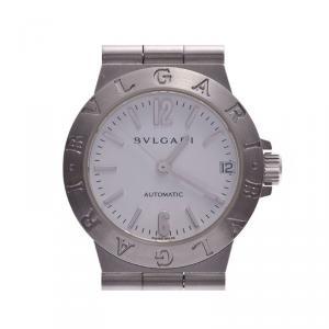 Bvlgari White Stainless Steel Diagono LCV29S Women's Wristwatch 29 MM