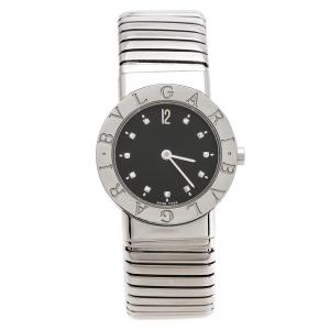 ساعة يد نسائية بلغاري توبوغاس BB262TS ستانلس ستيل و ألماس سوداء 26 مم