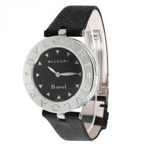 Bvlgari Black Stainless Steel and Leather B Zero 1 BZ 30S Women's Wristwatch 30MM