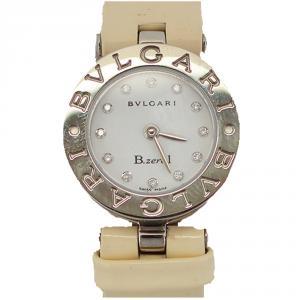 Bvlgari White and Leather Diamond Stainless Steel BZ22S B.zero1 Women's Wristwatch 22MM