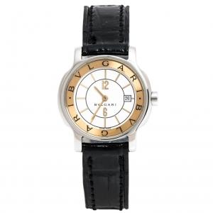 ساعة يد نسائية بلغاري سولوتمبو اس تي29اس جلد وستانلس ستيل بيضاء 29مم