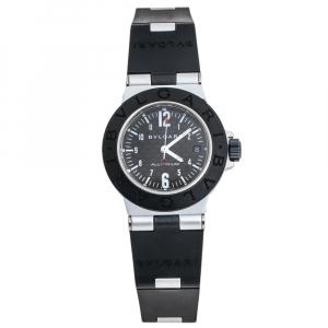 Bvlgari Carbon Fiber Two-Tone Aluminium Rubber Diagono AL28TA Women's Wristwatch 28 mm