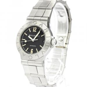 Bvlgari Black Stainless Steel Diagono Sport Automatic LCV29S Women's Wristwatch 29 MM