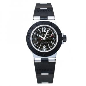 ساعة يد نسائية بلغارى دياجونو أيه أل 29 تي أيه مطاط أسود وألمونيوم ألياف كاربونية 29 مم
