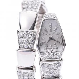 Bvlgari Silver Diamonds 18K White Gold Serpenti K18WG Women's Wristwatch 16 MM