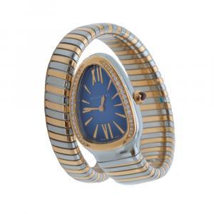 Bvlgari Blue Dial Serpenti Steel & Rose Gold Diamond Bezel Watch