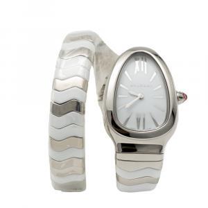 Bvlgari White Serpenti Spiga Stainless Steel & Ceramic Women's Watch Small Size