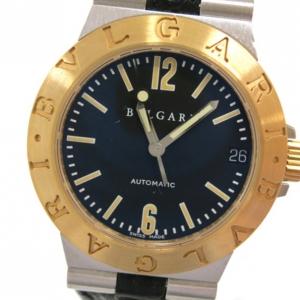 Bvlgari Diagono Wristwatch SS 18K Leather Black Ladies