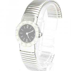 Bvlgari Black Stainless Steel Tubogas BB23 2TS Quartz Women's Wristwatch 23 MM
