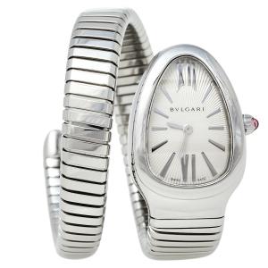 ساعة يد نسائية بلغاري سيربينتي توبوغاس أس پي 35 أس ستانلس ستيل مزخرفة اشعة الشمس فضية 35 مم