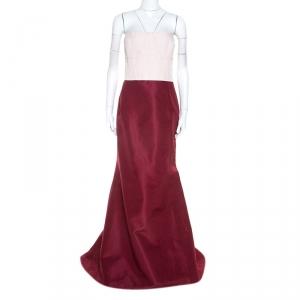 Carolina Herrera Burgundy and Pink Silk Strapless Gown XL