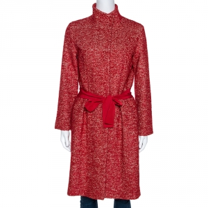 CH Carolina Herrera Red Wool Belted Mid Length Coat M