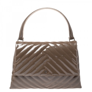 Carolina Herrera Dark Beige Quilted Chevron Patent Leather Flap Top Handle Bag