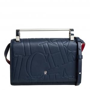 Carolina Herrera Navy Blue/Red Embossed Leather Insignia Flap Top Handle Bag