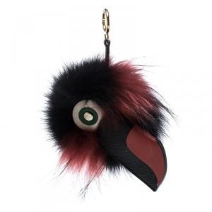 Carolina Herrera Black/Red Fur Touky Bag Charm