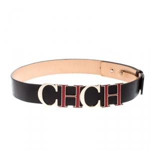 Carolina Herrera Dark Brown Leather CH Belt 80CM