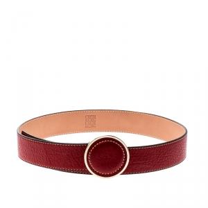 Carolina Herrera Red Leather Round Logo Belt 80CM