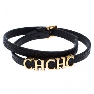 Carolina Herrera CH Logo Black Leather Double Tour Bracelet