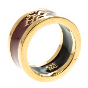 Carolina Herrera CH Burgundy Enamel Gold Tone Band Ring Size 54.5