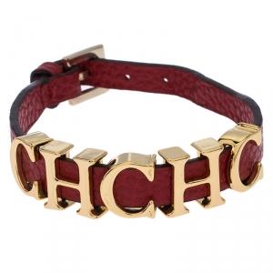 Carolina Herrera CH Logo Red Leather Gold Tone Bracelet