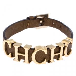 Carolina Herrera Brown CH Logo Leather Bracelet