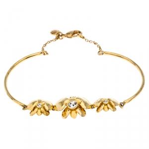 Carolina Herrera Crystal Embedded Floral Gold Tone Bracelet
