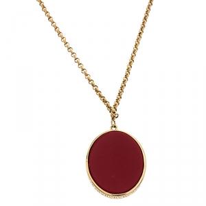 Carolina Herrera Red Stone Pendant Gold Tone Chain Necklace
