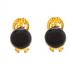 CH Carolina Herrera Black Resin Metal Logo Gold Tone Earrings