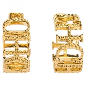 Carolina Herrera Gold Tone Between The Line Hoop Earrings