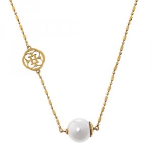 Carolina Herrera Faux Pearl Gold Tone CH Station Necklace