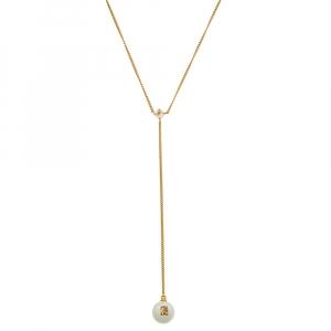 CH Carolina Herrera Gold Tone Faux Pearl Drop Pendant Necklace