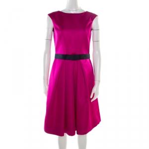 Carolina Herrera Fuchsia Sleeveless Belted Fit and Flare Dress S