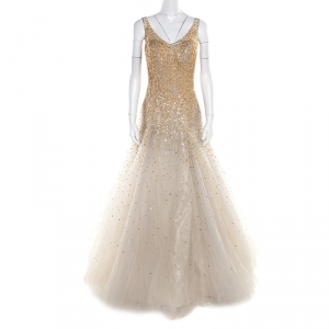 Carolina Herrera Grey and Beige Gold Mini Peacock Feather Embellished Tulle Gown L