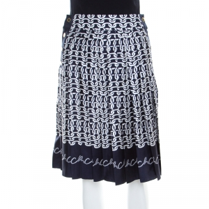 Carolina Herrera Indigo Nautical Print Silk Pleated Skirt XS