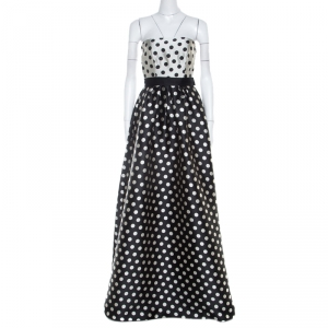 Carolina Herrera Monochrome Polka Dot Strapless Evening Gown S