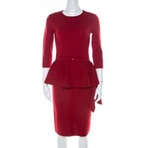 Carolina Herrera Red Stretch Wool Peplum Dress S