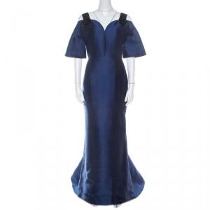 Carolina Herrera Navy Blue Silk Blend Embellished Strap Evening Gown S - used