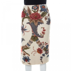 Carolina Herrera Beige Felted Wool Floral Print Sheath Skirt M
