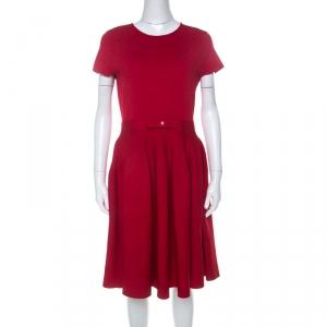 CH Carolina Herrera Red Stretch Knit Bow Detail A Line Skater Dress M