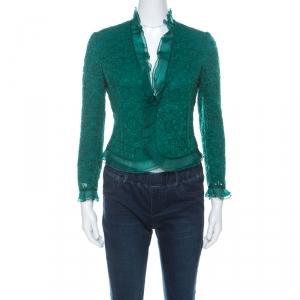 Carolina Herrera Green Lace & Silk Ruffle Trimmed Crystal Button Jacket S