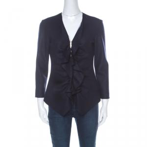 CH Carolina Herrera Navy Blue Fleece Wool Ruffle Detail Zip Front Jacket M