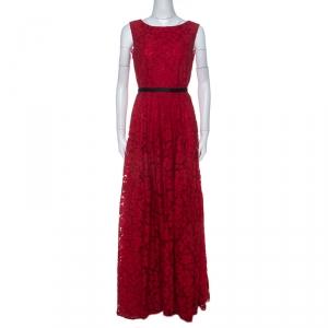 Carolina Herrera Red Floral Lace Black Strap Detail Gown M