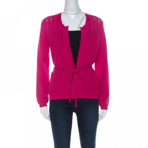 Carolina Herrera Fuschia Pink Crochet Knit Belted Cardigan S