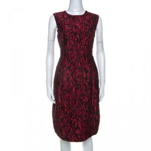 Carolina Herrera Red Floral Patterned Jacquard Sleeveless Sheath Dress L - used