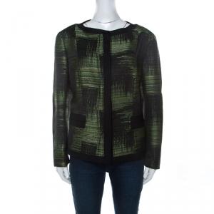 Carolina Herrera Green and Black Jacquard Button Front Jacket XL