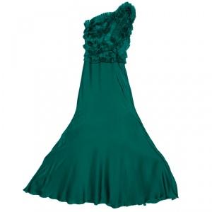 Carolina Herrera Green Silk Pleated Ruffle Bodice Evening Gown XS used