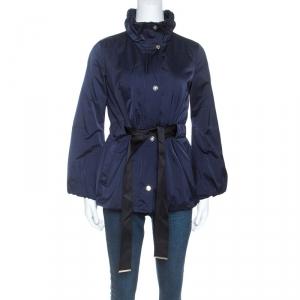 Carolina Herrera Navy Blue Ruched Collar Belted Puffer Jacket XS