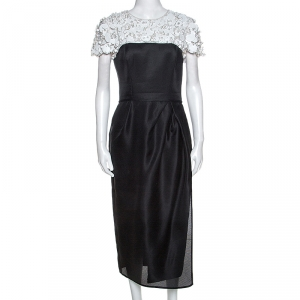 Carolina Herrera Monochrome Embellished Silk Sheath Dress S
